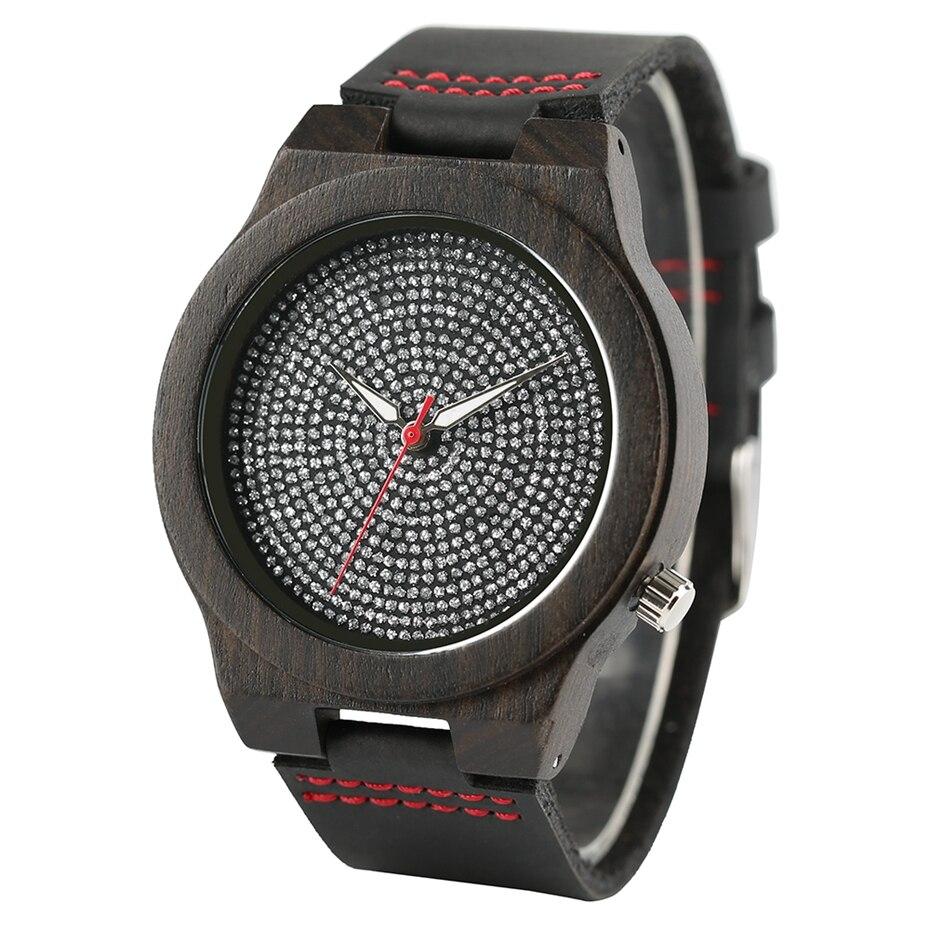 Top Luxury Mens Watch Retro Ebony Wood Watch Unique Diamond Dial Sports Quartz Women Writstwatch Genuine Leather Valentine Gifts 2020 (3)