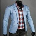 2017 Горячие мужская Мода Повседневная Slim Fit Пиджак Сплошной Цвет Высокое Качество Мужской Пиджак Бесплатная доставка