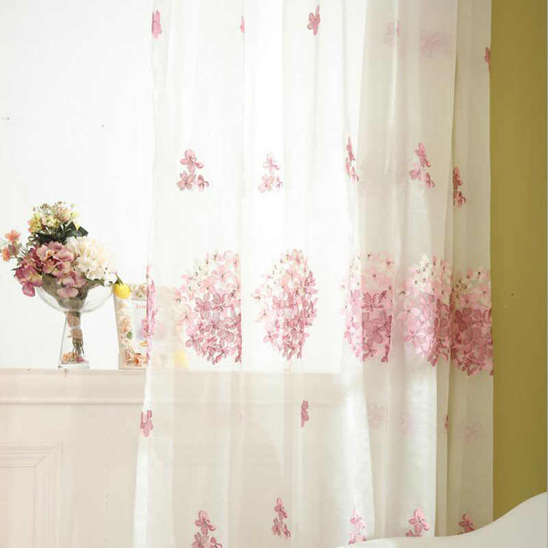 Romantic Pink Floral Embroidered Curtain Tulle Curtains Fabric Girls Room Window Bedroom Sheer Voile for Living Room T&388 #30