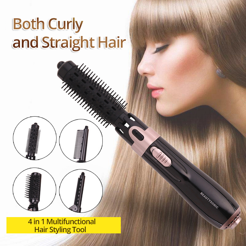 4 in 1 Multi-functional Hair Curler Comb Hair Dryer Hair Strightener Rotatable Cord 2 Levels Adjustment Anti-scalding Curler