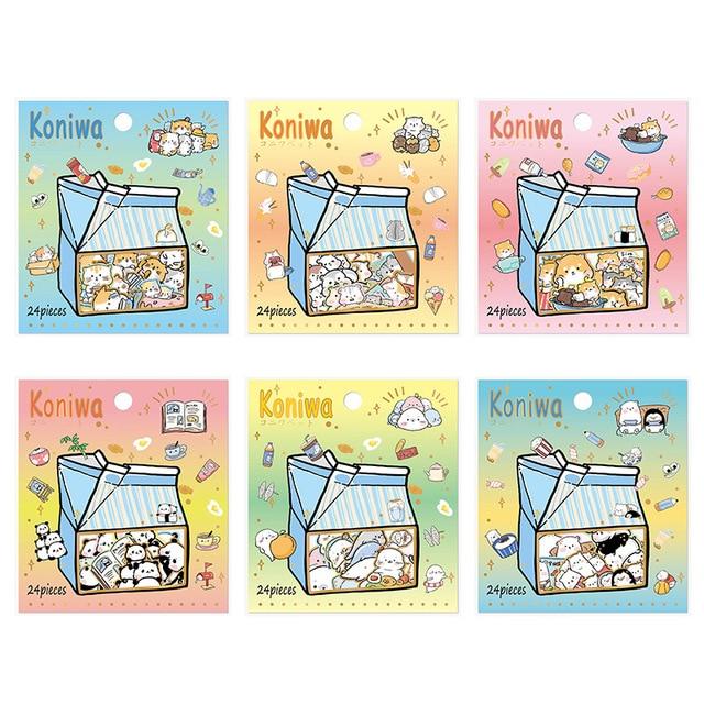 24 unids/set dibujos animados perro gato bala diario pegatinas decorativas adhesivos DIY decoración diario pegatinas de papelería regalo