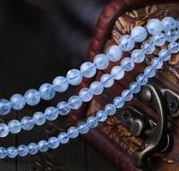 4mm 5mm 6mm 8mm 10mm Natural Light Blue Aquamarine Gemstone Beads For Jewelry Diy Bracelet Beads ,Fine Jewelry beads Strand 15