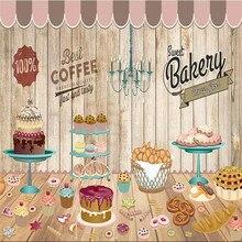Custom wallpaper cake coffee shop retro background wall painting advanced waterproof material
