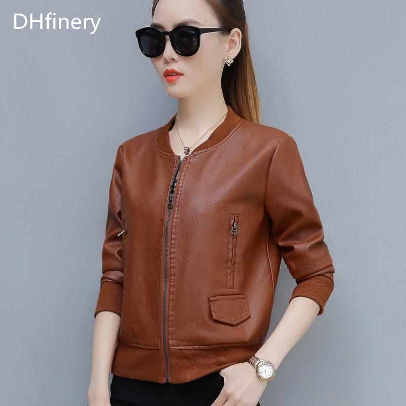 DHfinery leather jacket women Bust 95-120CM Slim motorcycle PU jacket green caramel faux leather jackets plus size M-4XL TB5720