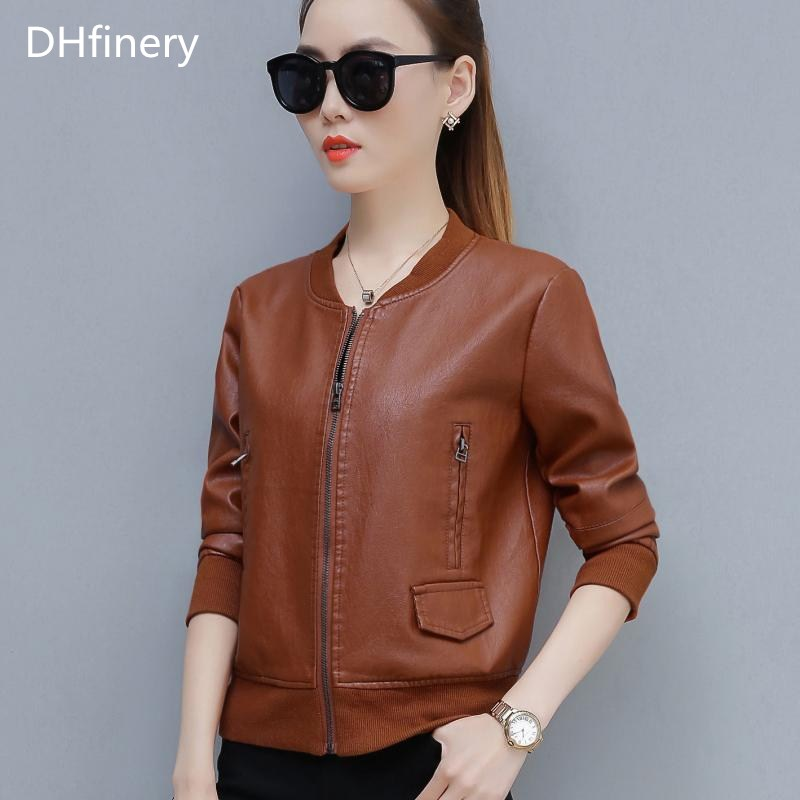 DHfinery   leather   jacket women Slim Short motorcycle PU jacket Black green caramel faux   leather   jackets plus size M-4XL TB5720