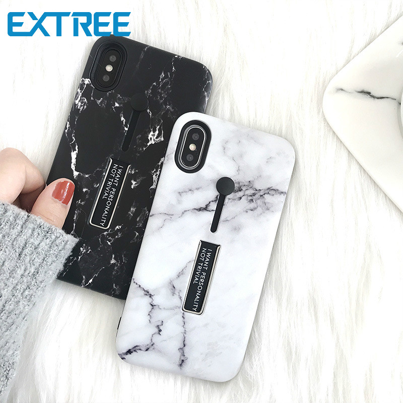EXTREE case for iPhone Simple Marble Ring Bracket iPhone Case X Mobile case iPhone7plus 8 Multifunction All-inclusive Drop 6s