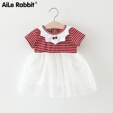 2019 Children Girl Small Bow Stripe Yarn Skirt Dress You Short Sleeve Princess