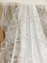 3 yards one piece soft French chantilly lace fabric with scalloped borders both sides , bridal veil wedding gown