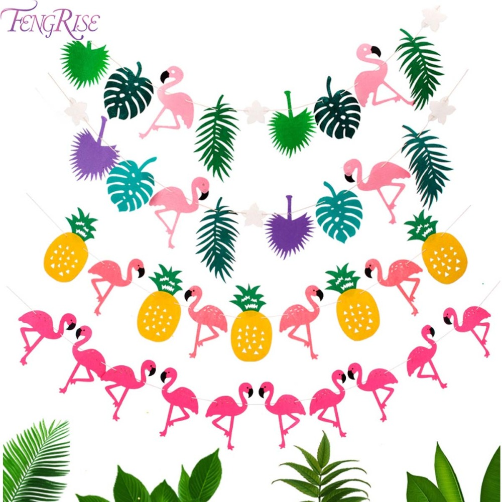 FENGRISE Flamingo Party Decoration Fødselsdag Banner Flag Garland Hawaiian Luau Tropical Coconut Leaves Event Party Supplies