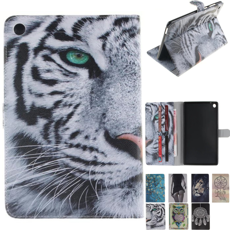 For Asus zenpad S 8.0 Z580 Z580C Z580CA Cases PU Leather Flip Book Stand Magnetic Wallet Card Slots Tiger Tiger Lion Owl Case