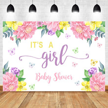 NeoBack Its a Girl Baby Shower Photo Backdrop Pink Flower Newborn Party Banner Dessert Table Decorate Props