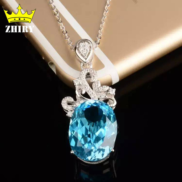 Blue topaz necklace big gemstone woman semi precious stone pendant blue topaz necklace big gemstone woman semi precious stone pendant solid 925 sterling silver ladys mozeypictures Images