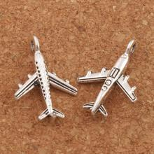 Aircraft Plane Spacer Charm Beads 45pcs Antique Silver Pendants Alloy Handmade Jewelry DIY L012 15.5x22.5 mm