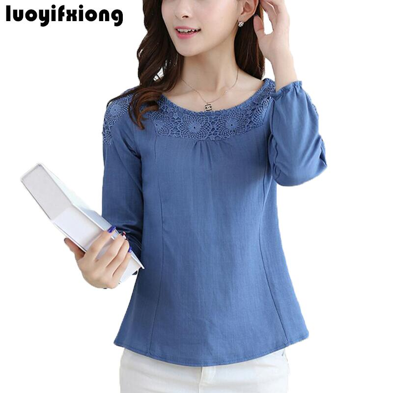 Blouse     Shirt   Female Cotton Linen 2018 Vintage Lace Embroidery Long Sleeve   Shirt   Women Tops Ladies Casual Plus Size Blusas Mujer