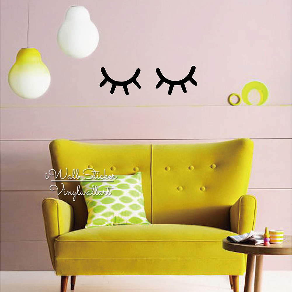 Baby Nursery Eyelash Wall Sticker Girls Room Vinyl Wall Decal ...