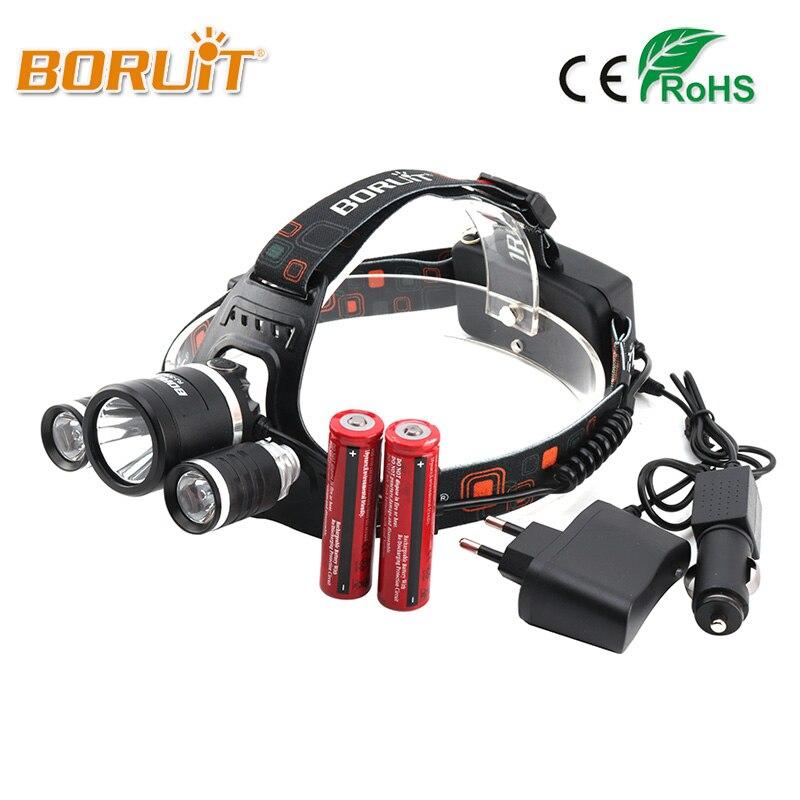 Boruit 8000LM XML L2+2R5 LED Headlight 18650 Battery Head Torch 4Mode Headlamp Flashlight For Fishing Hunting RJ-3001 Head Light