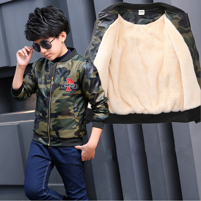 Winter Boy Jacket PU Leather Thicken Kids Clothes Teenagers Baby