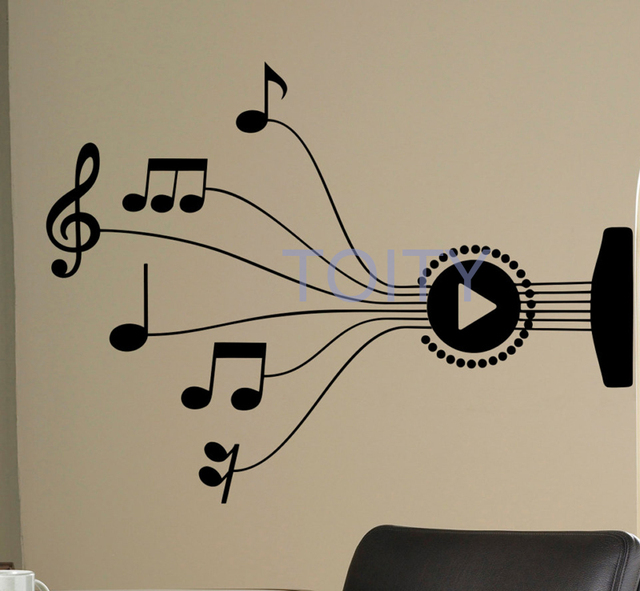 Guitar Strings Wall Sticker Music Notes Vinyl Decal Art Decor Mural H57cm X W78cm