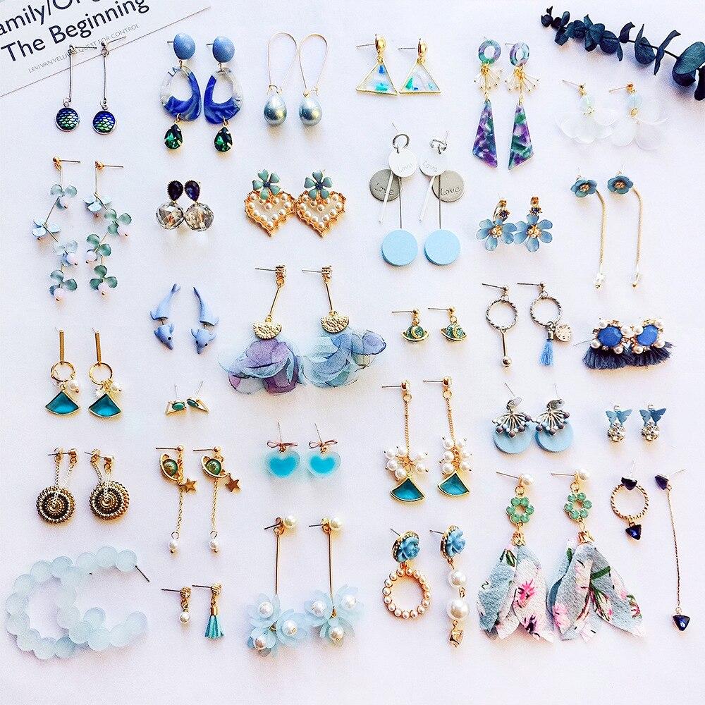 Korean Girl Earrings Blue Imitation Pearl Rhinestone Tassels Drop Earrings for Women Accessories Fashion Dangle Earrings Jewelry
