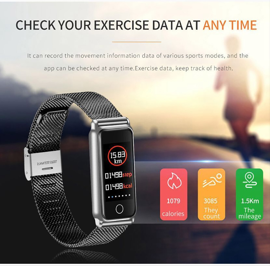 Y8 Smart Watch Stainless Steel Women Sports Touch Screen Health Bracelet Ons Men Fitness Bracelet for Measuring Pressure Fitness 2018 2019 (8)