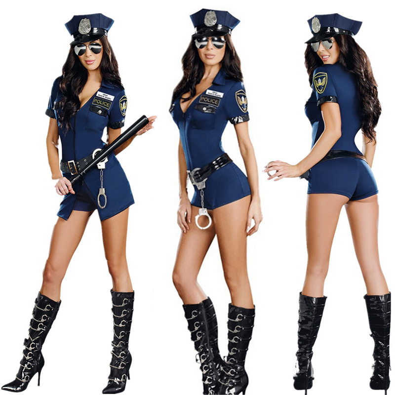 Adult Ladies <font><b>Sexy</b></font> <font><b>Blue</b></font> Policewoman <font><b>Costumes</b></font> <font><b>Halloween</b></font> Carnival Cosplay Jumpsuits Female Cop <font><b>Costume</b></font> Uniform Party Police Dress image