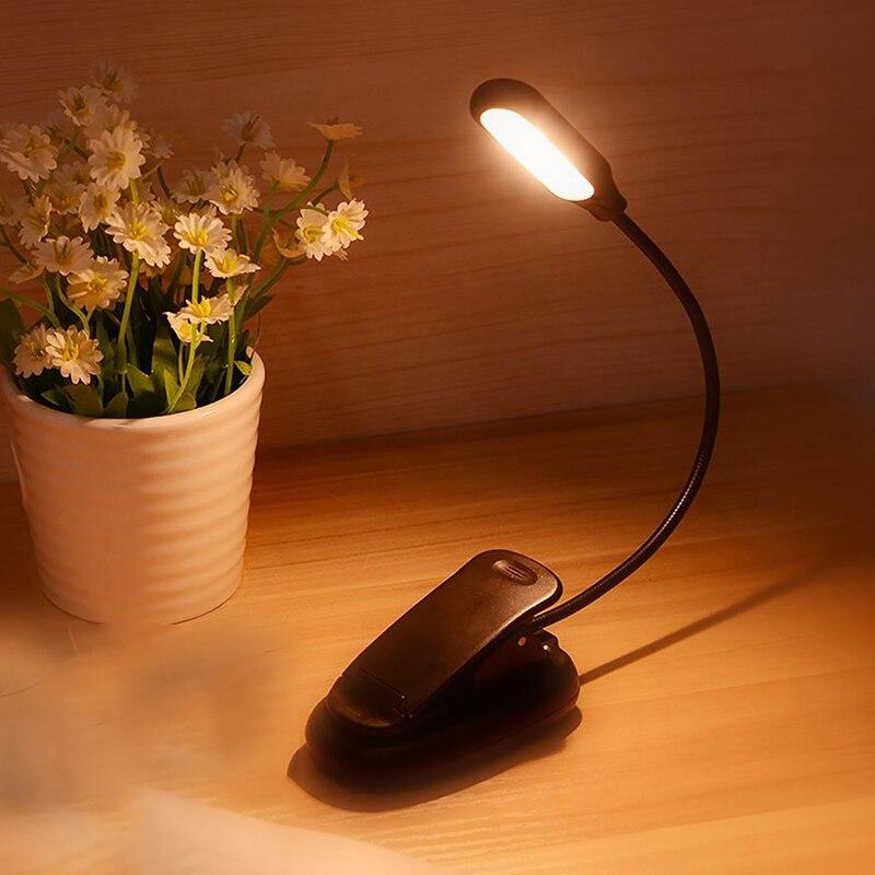 Nouveau Noir Nuit Led Flexible Rechargeable Clip Lampe Livre Lumière Protection Des Yeux Lecture Lumière étudiant Lit Usb Lecture Livre Lumière Garantie 100%