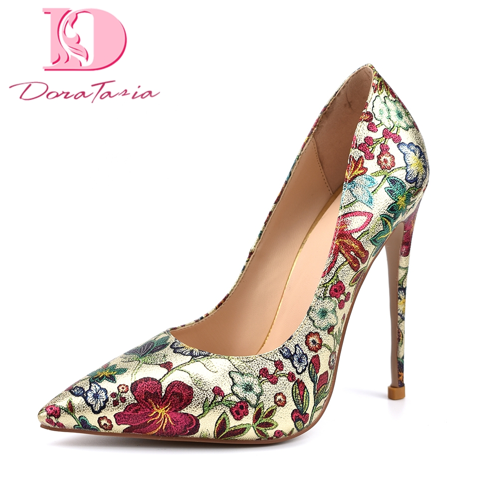 DoraTasia 2018 gold flowers printing plus Size 42 dropship sexy Party pumps women Shoes Thin High Heels top quality shoes woman romyed bridals wedding shoes kim kardashian pumps superstar shoes top quality flowers evening christian shoes size 4 16 shofoo