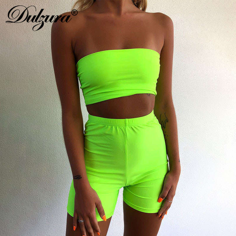 Dulzura Summer Women Two Piece Set Sexy Shorts Set Crop Top High Waist Streetwear Festival Party Clothes Tracksuit Outfit