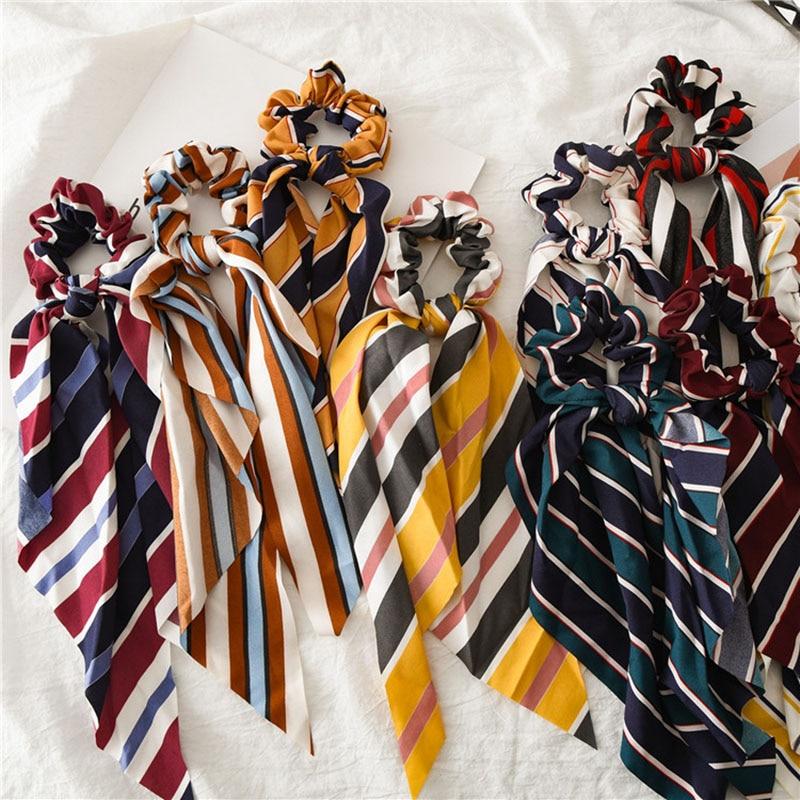 2019 Women Stripe Elastic Hair Band Fashion Hair Scarf Ladies Ribbon Scrunchie Satin Bowknot Rubber Bands Girls Hair Accessories