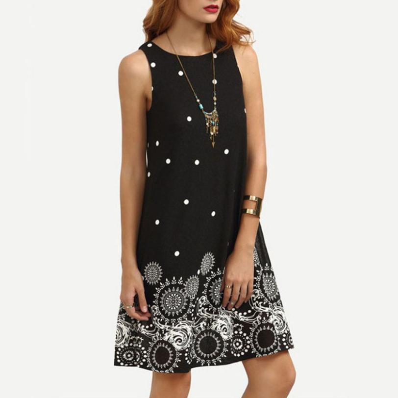 KANCOOLD Dress New High Quality Girl Summer Solid Chiffon Print Vest Dresses Sleeveless Evening Party Dress Women AP24