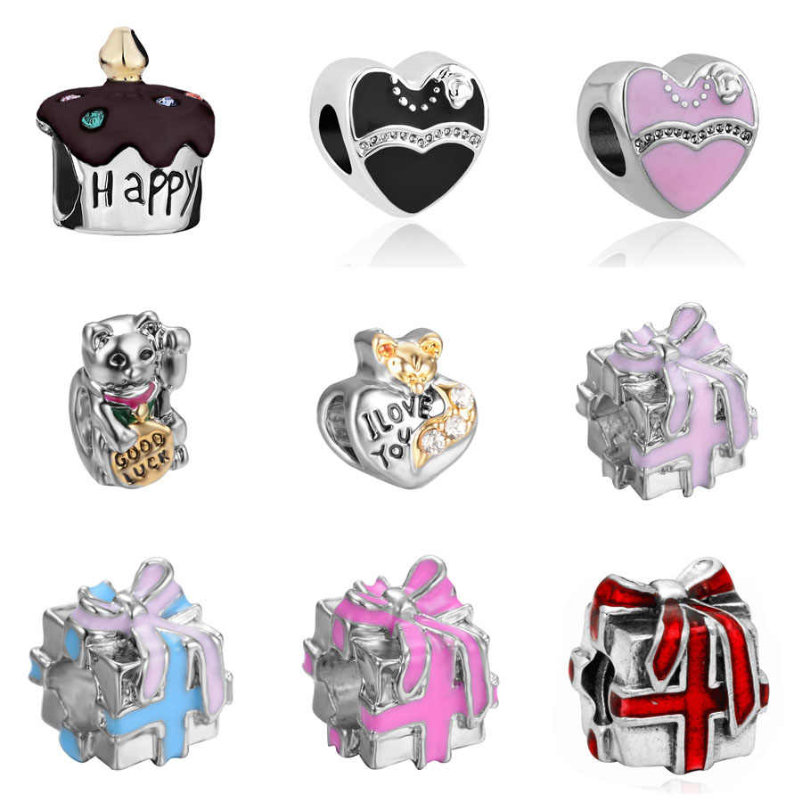786a7726b Detail Feedback Questions about 2018 new Happy birthday cake cream enamel  bead fit pandora charm silver original bracelet for women man Jewelry diy  making ...
