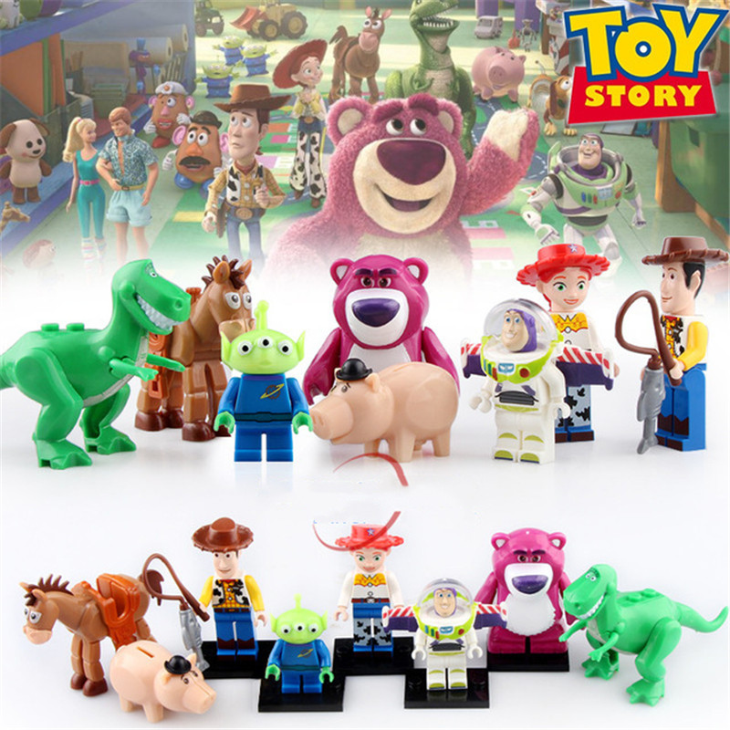 Toy Stories 4 IV Figure Buzz Lightyear Jessie Woody Aliens Soldier Dinosaur Building Blocks Set Models Toys For Kids PG8222