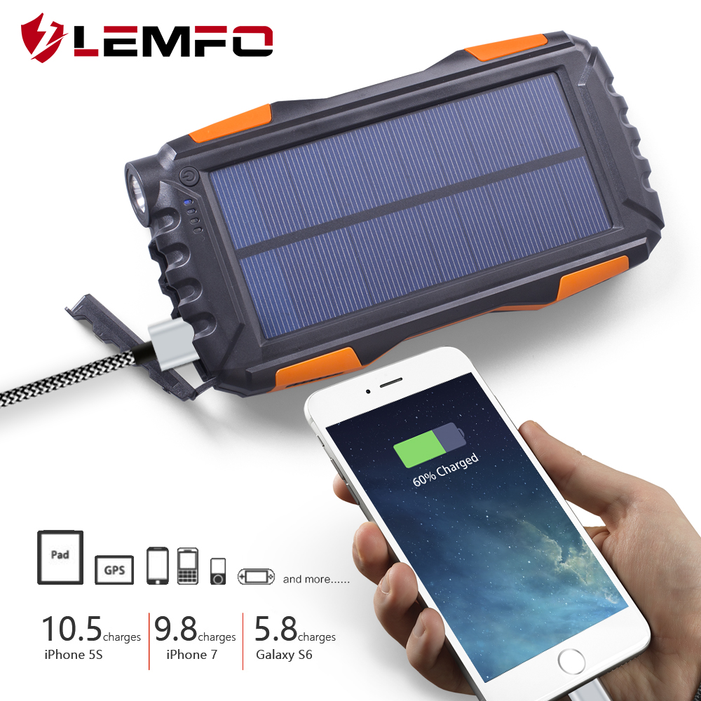 LEMFO Solar Power Bank 25000mah Big Than 20000mah IP67 Waterproof Powerbank Portable Mobile Phone Charger Outdoor LED Lighting