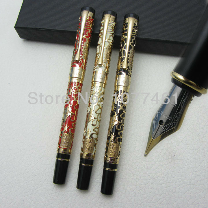3PCS Jinhao 3Color and Embossed golden dragon High Quality Medium Nib Fountain Pen with gift box J1053 italic nib art fountain pen arabic calligraphy black pen line width 1 1mm to 3 0mm