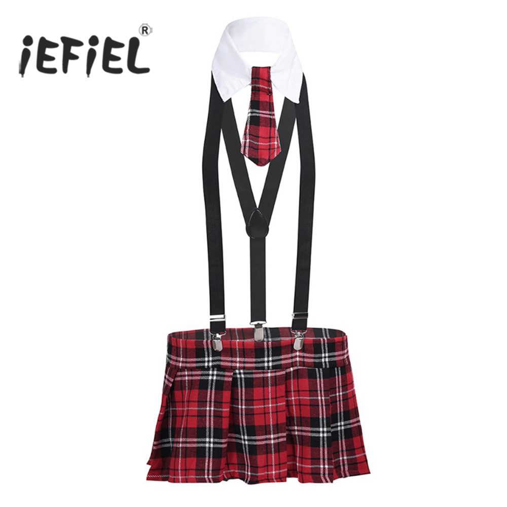 iEFiEL 4PCS Sexy Women Strappy Halter School Girl Costumes Cosplay Uniform Plaid Mini Skirt with Braces Necktie Lingerie Sets