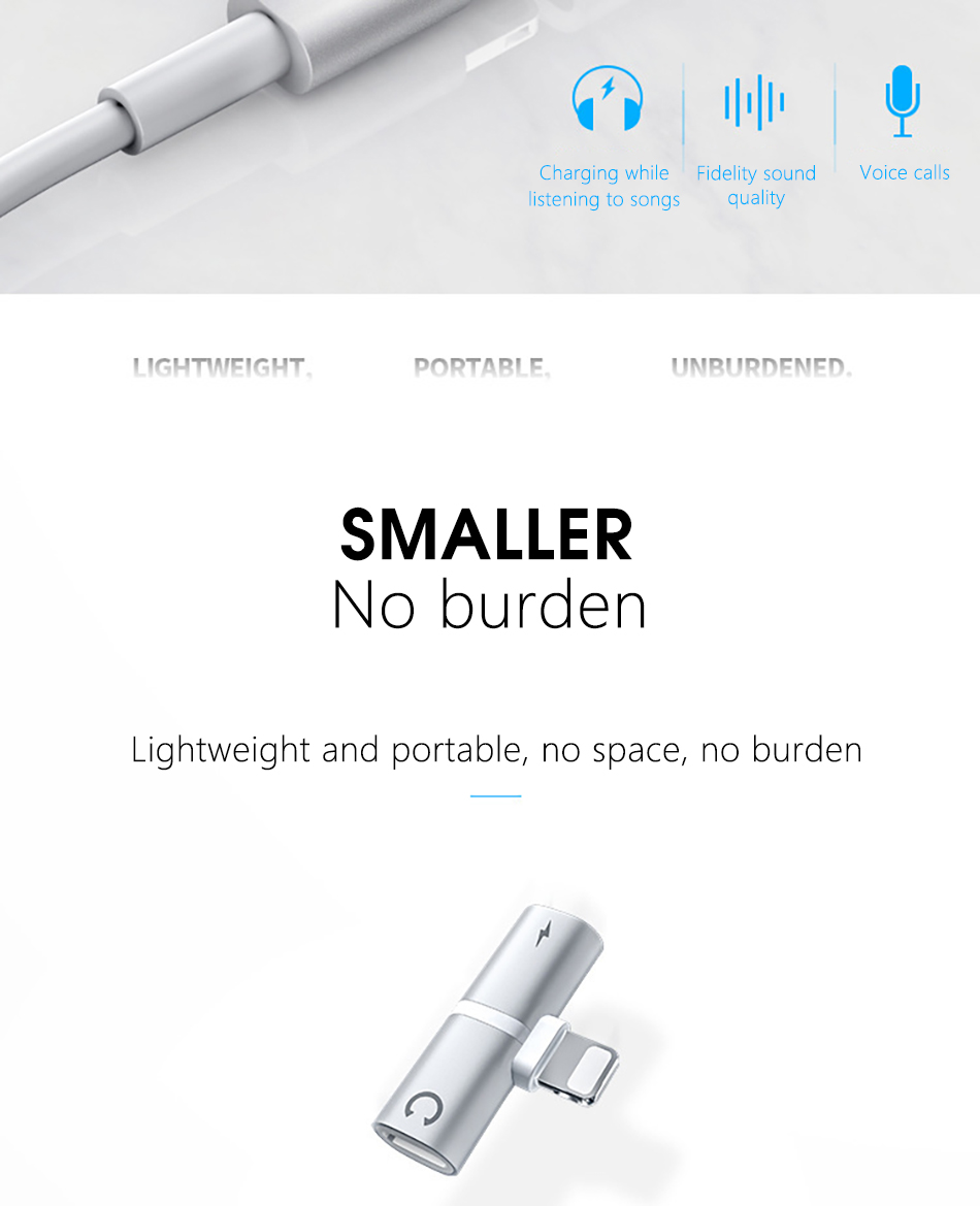 !ACCEZZ 3 IN 1 Earphone Audio Adapter For iphone  X 8 7 Plus XS MAX XR Fast Charge Listening Adapter Dual Lighting AUX Splitter (2)