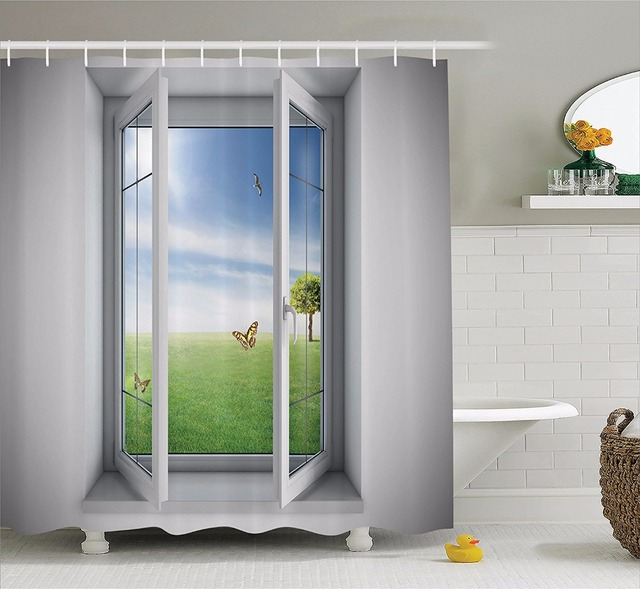 High Quality Arts Shower Curtains Open Window With A Green Field Outdoors Butterfly Bathroom Decorative Modern & High Quality Arts Shower Curtains Open Window With A Green Field ...