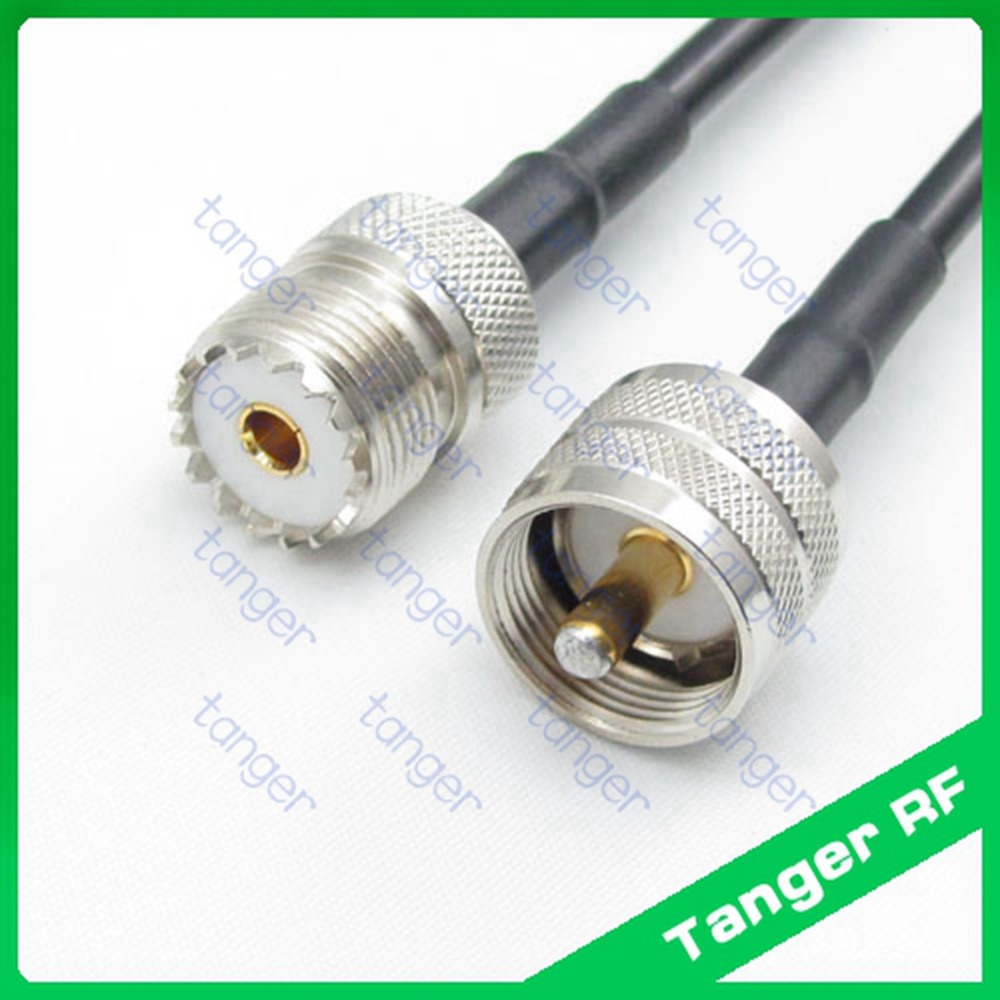 все цены на Hot selling Tanger UHF male plug PL259 SL16 to UHF female jack SO239 straight RF RG58 Pigtail Jumper Coaxial Cable 3feet 100cm