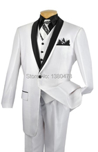 2016 Latest 1 Button Groom Tuxedos White Best man Shawl Black Lapel Groomsman Men Wedding Suits