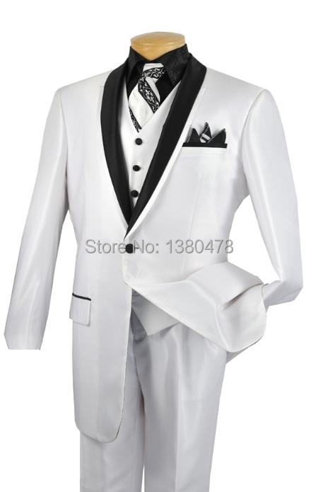 2016 Latest 1 Button Groom Tuxedos White Best man Shawl Black Lapel Groomsman font b Men