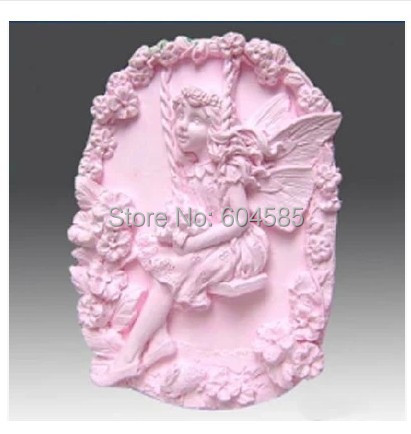 Fairy play on the swings <font><b>0562</b></font> Craft Art Silicone Soap mold Craft Molds DIY Handmade soap molds image