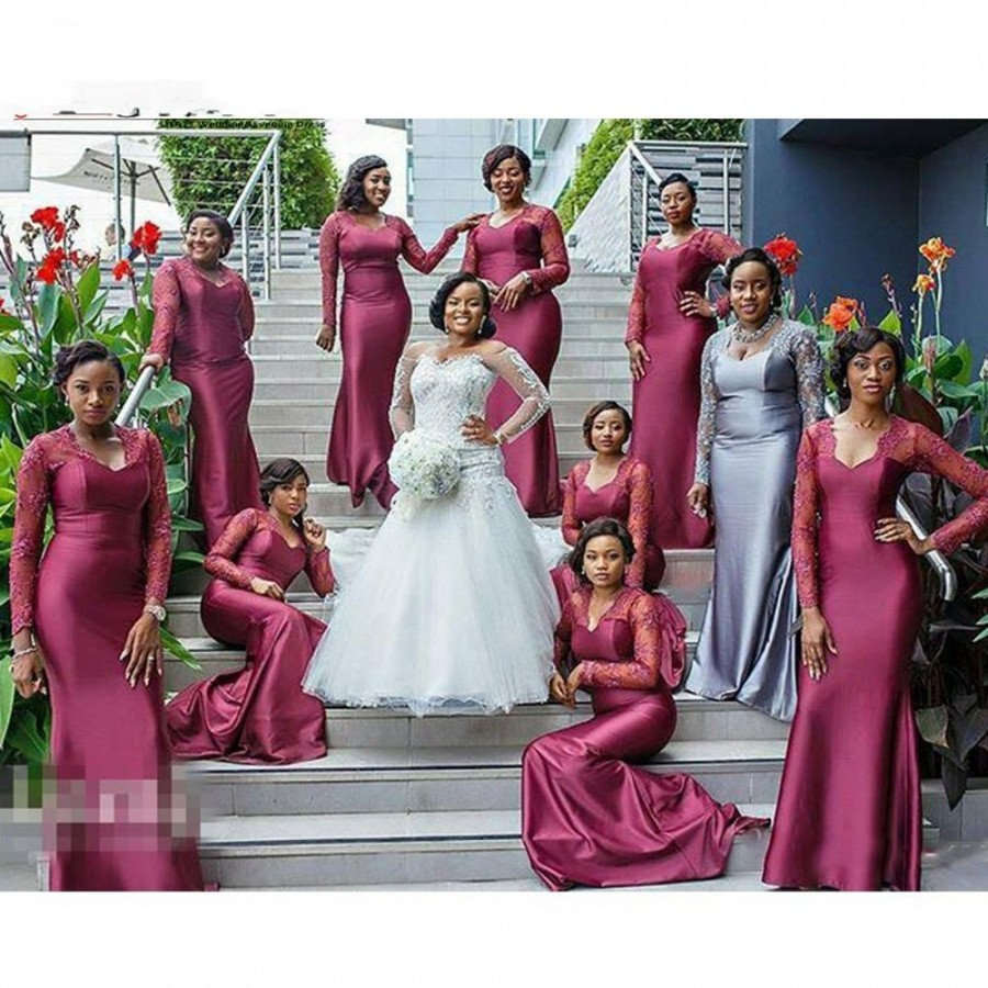 Online get cheap black bridesmaid dresses long sleeve aliexpress long sleeves lace african black girls long bridesmaids dresses 2016 hot v neck maid of honor gowns wedding guests wearzhp301 ombrellifo Image collections