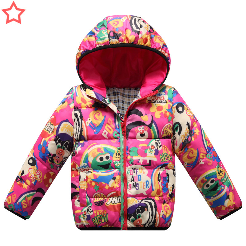 Jacket Coats Outerwear Parkas Hooded Printed Kids Down Girl's Warm Cartoon Cotton