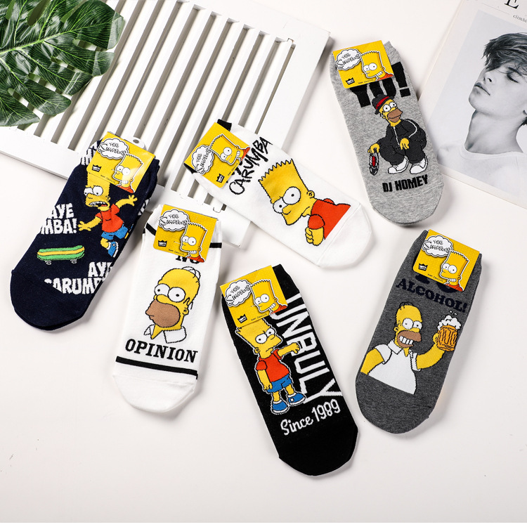 Jhouson Colorful Classic Cartoon Funny Ankle   Socks   Fashion Men's Cotton Novelty Summer Invisible Low Cut Casual   Socks   For Male