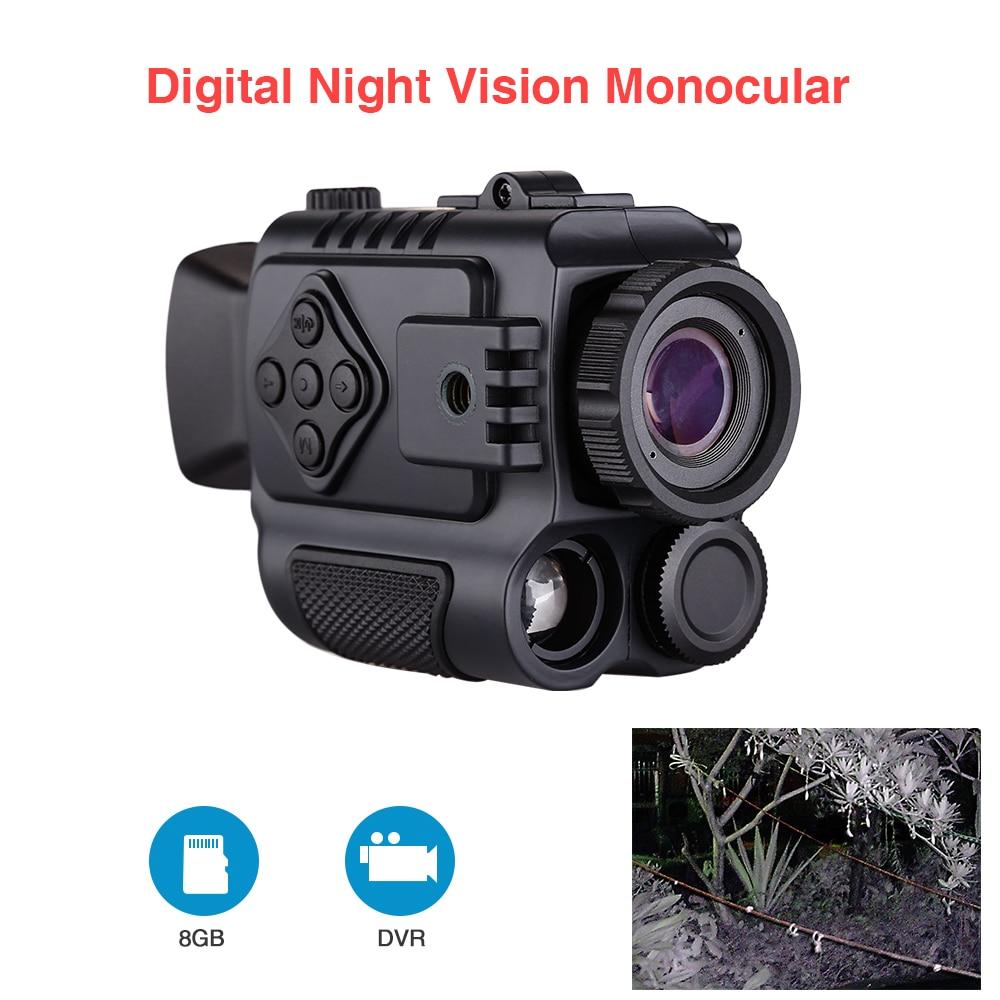 Güvenlik ve Koruma'ten Gözetim Kameraları'de Taşınabilir Mini kızılötesi gece görüş 8GB Video kayıt monoküler dijital kapsam teleskop uzun menzilli açık avcılık spor için