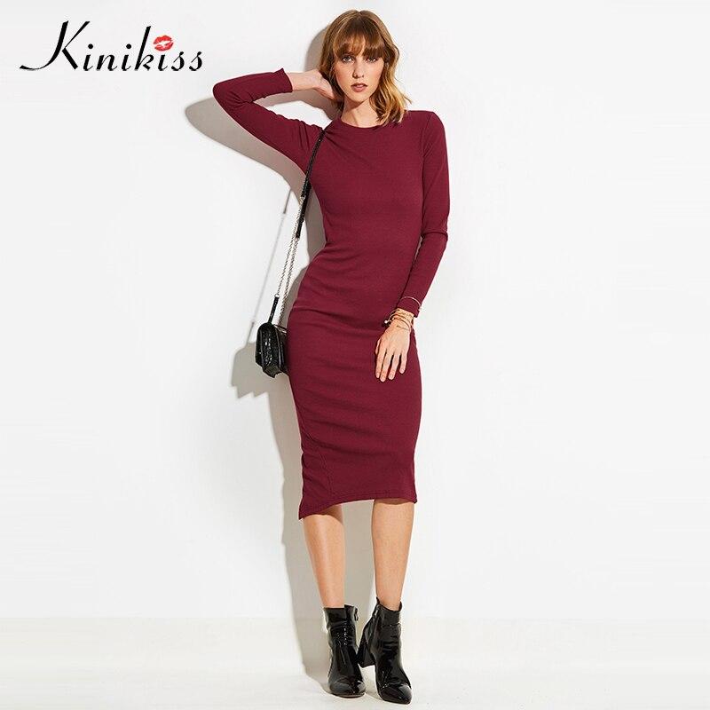 Kinikiss Для женщин деловая модельная одежда Sexy Stretch 2018 весенние модные платья с длинным рукавом партия основные Bodycon Разделение трикотажные Пл...