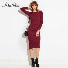 Kinikiss Для женщин деловая модельная одежда Sexy Stretch 2018 весенние модные платья с длинным рукавом партия основные Bodycon Разделение трикотажные Платья-свитеры