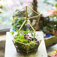 Vintage Decorative Jewelry Chest Geometric Terrarium Box Storage Made of Glass and Brass Tone A