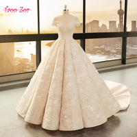 TaooZor Luxury Embroidery Lace A Line Wedding Dress 2018 Off Shoulder Princess Bride Bridal Dress Gown Wedding dress Plus Size