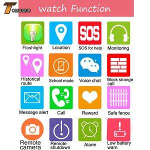 Image 5 - Tomu crianças relógio inteligente telefone y21s remoto da câmera tela de toque chamada sos anti lost lbs localização rastreador para crianças relógio de pulso seguro